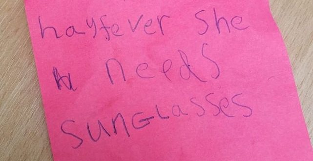 "Style Icon! Five-Year-Old Gives Teacher Funny Note From ""Mum"""